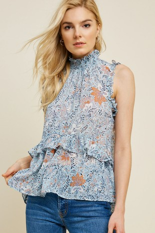 H7645 Floral Smock Neck Ruffle Top