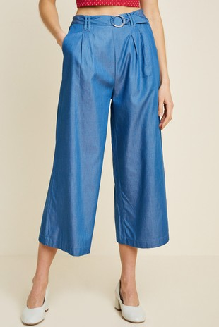 H7270 Cropped Wide-Leg Chambray Culottes