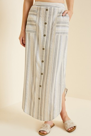 H7525 Striped Button-Down Linen Midi Skirt