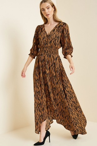 H8034 Button-Down Tiger Print Midi Dress