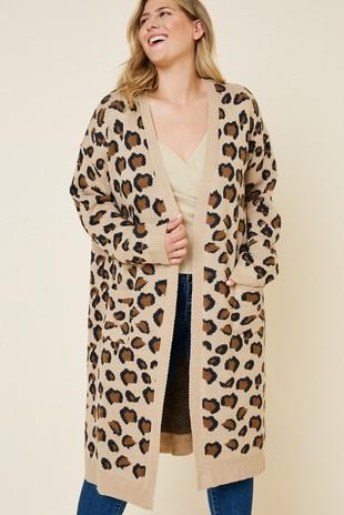 H8020W Plus Leopard Knit Cardigan Duster