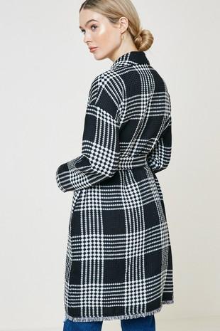 H8081 Plaid Knit Duster Coat