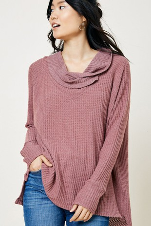 H8090 Cowl Knit Sweater Top