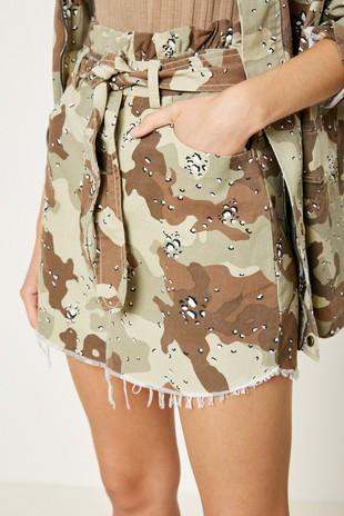 H11001 Camo Paperbag Denim Skirt