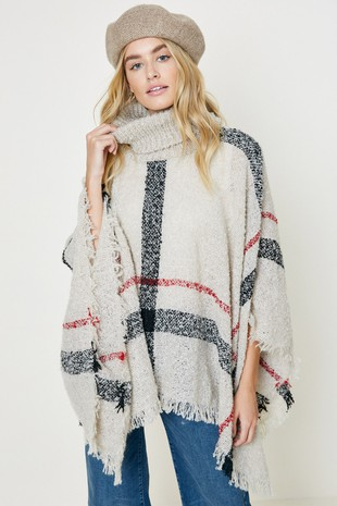 P1024 Plaid Turtleneck Sweater Poncho