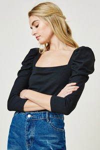 H9183 Knit Puff Shoulder Top