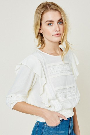 H11073 Ruffle Smock Waist Lace Top