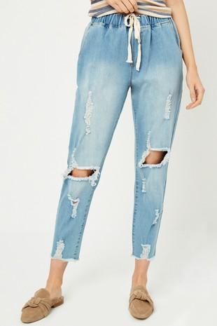 H6423 Distressed Drawstring Denim Jeans