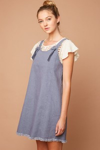 H6075 Denim Overall Dress