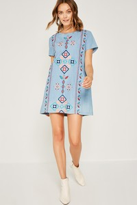 H6559 Embroidered Tribal Stitch Shift Dress