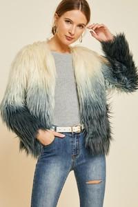 H5726 Ombre Faux Fur Coat