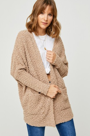 H5692 Dolman Sleeve Sweater Popcorn Cardigan