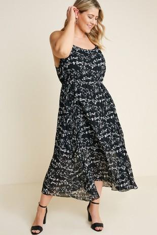 H7127W Plus Pleated Floral Cami Midi Dress
