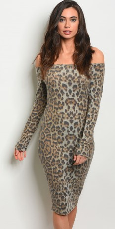 TAUPE ANIMAL PRINT DRESS 2-2-1