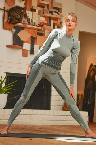 Space Dye Long Sleeve and Legging Set YPS3324-SAGE