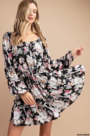 N6983 FLORAL CHALLIS DRESS...