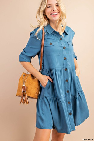 J6209.BUTTON DOWN TIERED DRESS
