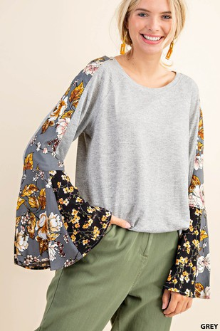 N6796 FLORAL MIXED BELL SLEEVE SHIRT
