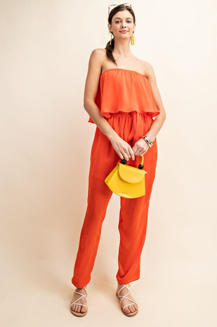 B5045. BELTED FLOUNCY OVERLAY JUMPSUIT