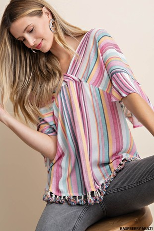 N6451 MULTI COLORED STRIPED TOP
