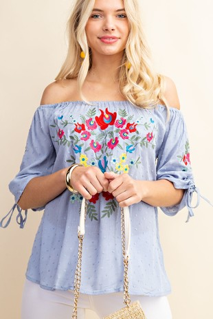H5425 EMBROIDERY OFF SHOULDER TOP
