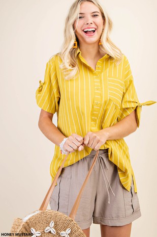 N7195 STRIPED KNOTTED SLEEVE SHIRT