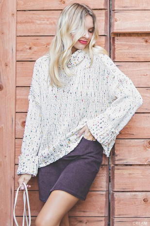 M6046 CHUNKY KNIT TURTLENECK PULLOVER SWEATER