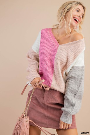 N7699 RIBBED COLOR BLOCK SWEATER