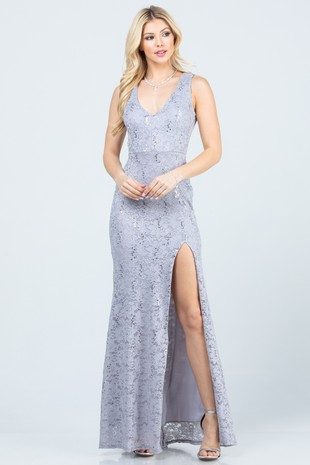 25903 mermaid gown with skirt opening sil