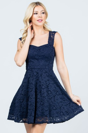 25943 Fit and flare lace dress with inside nav