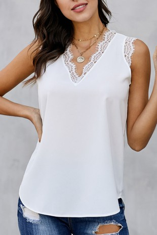 LACE STITCH SLEEVELESS TOP-LI25306409-B601