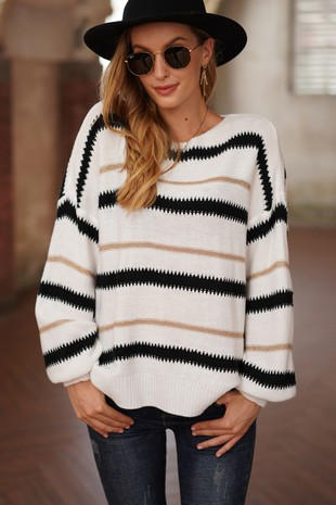 TRENDY STRIPE SWEATER-LI210101-B803