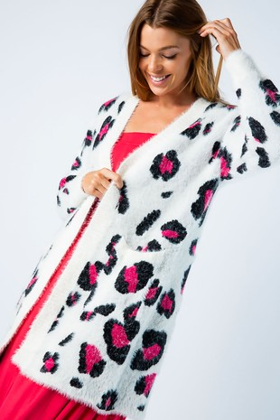 J50210-PK LEOPARD PATTERN FURRY OPEN CARDIGAN