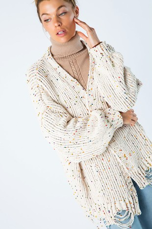 J50212 CHENILLE DESTROYED CARDIGAN WITH SPECKLES