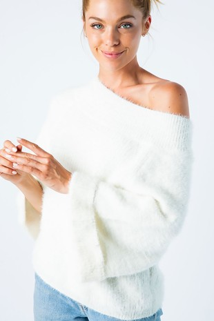 J50218 FURRY OFF SHOULDER SWEATER