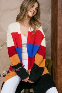 LJ60306 MULTI STRIPE CARDIGAN.