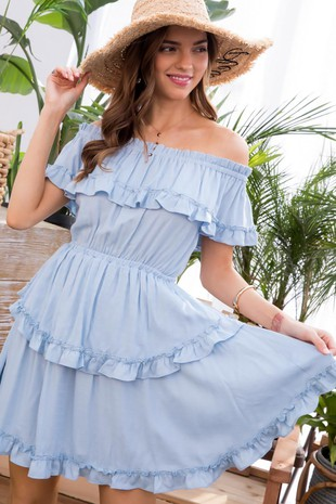 LD51130 OFF THE SHOULDER DRESS..