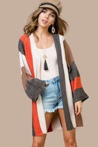 LJ60311 MULTI STRIPE CARDIGAN..