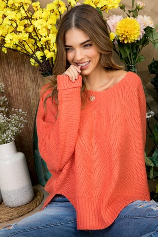 LT30053 HI LO SWEATER CORAL.