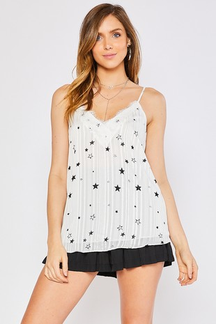 C13368B - STAR PRINT LACE FRONT WOVEN TANK TOP