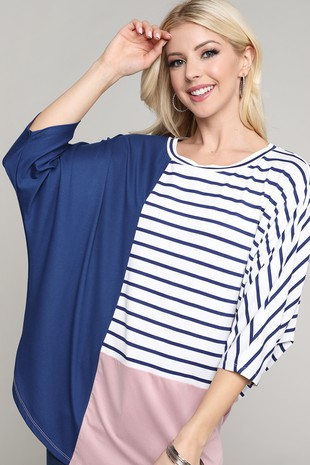 COLOR BLOCK TOP WITH ROUND NECK CWTTS260-C2