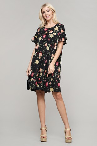 PLUS SIZE CASUAL FLORAL MIDI DRESS CWDSD527-C6