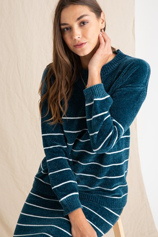 PSW2512-DTEAL SCARLET SET STRIPED SWEATER TOP