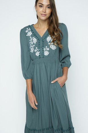 PSD3102-TEAL EMBROIDERED MAXI DRESS WITH POM