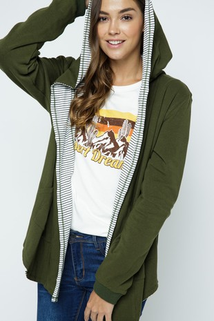 PSJ1127-OLIVE REVERSIBLE HOODED FRENCH TERRY
