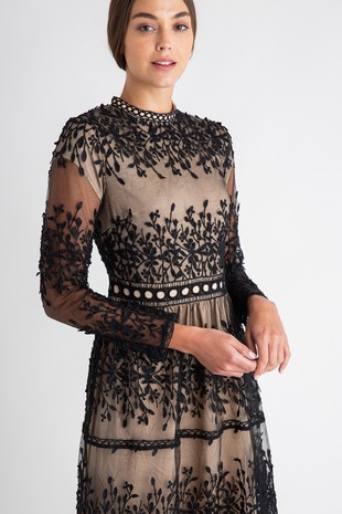 PSD3253-BLK TIERED LACE DRESS