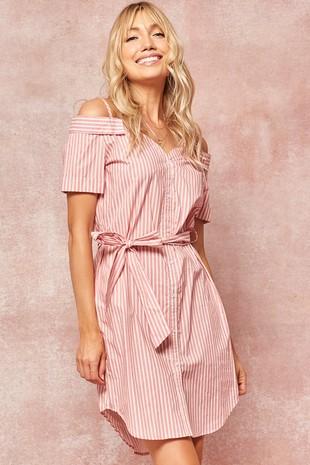 HDE8157 Promesa Striped Open-Shoulder Shirt Dress