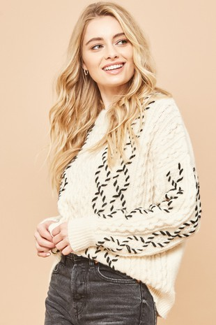 ATL3776 Contrast Stitching Cable Knit Sweater  ..