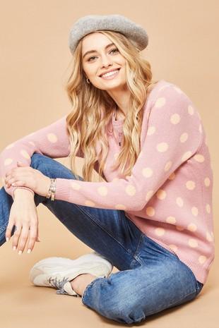 G0064 Polka Dot Knit Pullover Sweater ....-Clone