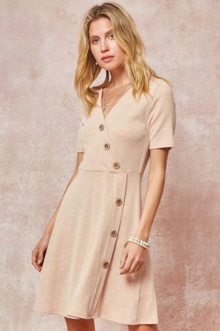 DD3337 Ribbed Knit Button-Trimmed Skater Dress .